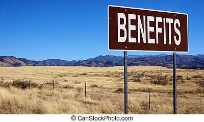 Benefits word on road sign