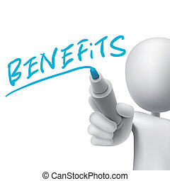 benefits word written by 3d man