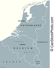 Benelux countries, gray political map