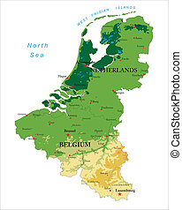 Benelux physical map - Highly detailed physical map of...