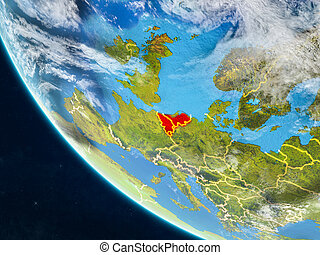 Benelux Union from space on Earth