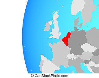 Benelux Union on globe - Benelux Union on blue political...