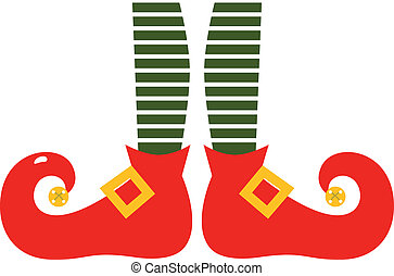 benen, elf's, vrijstaand, kerstmis, spotprent, witte
