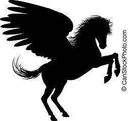 benen, pegasus, silhouette, hinde