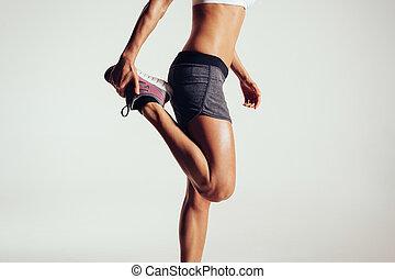 benen, vrouw,  Stretching, haar,  fitness