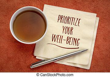 benessere, inspiraitonal, tuo, nota, prioritize