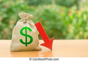 benessere, soldi, introiti, difficoltà, borsa, investors., tassa, dollaro, utili, investments., liquidità, cadere, rosso, salari, freccia, giù., partenza, simbolo, ridotto, capitale, economico