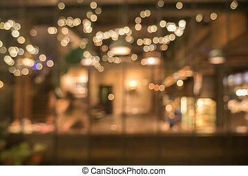 benevelde beeld, van, coffeeshop, gebruiken, voor, abstract, achtergrond
