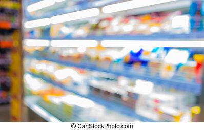 benevelde beeld, van, supermarkt, en, variëteit, product