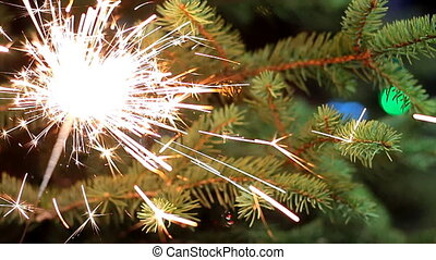Bengal light burning with bright sparkles on fir-tree background