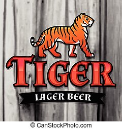 Bengal Tiger Beer logo vector. Lager Label design template. Predator insignia, Sport team logotype on wood texture background.