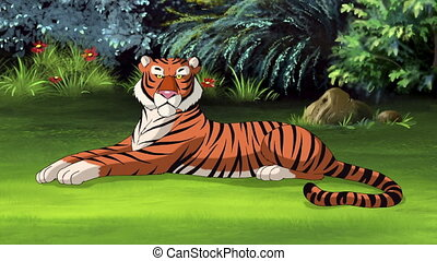 Bengal tiger lying on meadow. Full color handmade animation