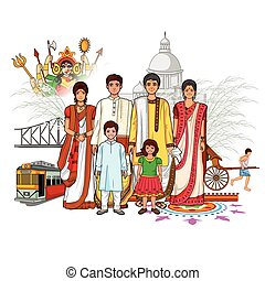 Bengali family showing culture of West Bengal, India -...