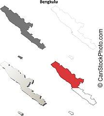 Bengkulu blank outline map set