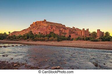 benhaddou, ait, ounila, marokkó, napnyugta, asif, folyó