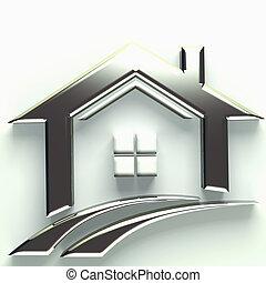 beni immobili, 3d, logotipo, casa