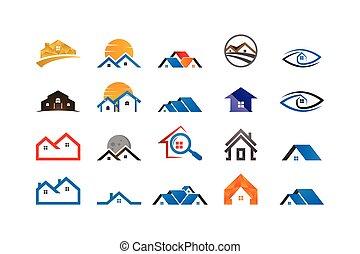 beni immobili, casa, collezione, sagoma, logotipo