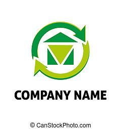 beni immobili, casa, con, freccia, logotipo