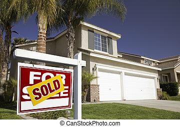 beni immobili, casa, venduto, segno vendita, rosso