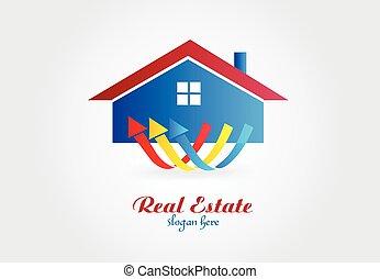 beni immobili, casa, vettore, disegno, logotipo