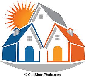 beni immobili, case, e, sole, logotipo