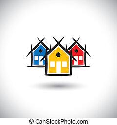 beni immobili, colorito, icone, casa, astratto, vettore, proprietà, o