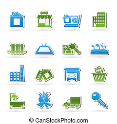 beni immobili, e, costruzione, icone