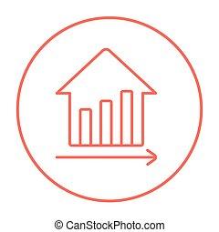 beni immobili, grafico, crescita, prezzi, linea, icon.