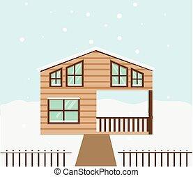 Inverno vettore illustrazione chalet vettore di clip for Disegni casa cottage