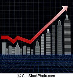 beni immobili, investimento, grafico, con, cornice filo...