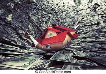 beni immobili, mercato, crisi, con, uno, casa, succhiato,...