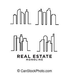 beni immobili, mono, disegno, grattacielo, sagoma, logotipo, linea