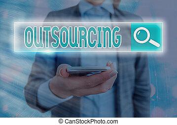 beni, o, ottenere, esposizione, ricerca, informazioni, web, futuristico, foto, outsourcing., segno, straniero, tecnologia, esterno, rete, fornitore, testo, concettuale, digitale, servizio, connection.