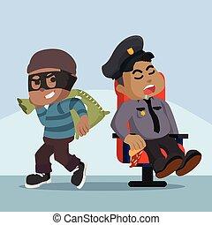 beni, polizia, africano, ladro, grasso, in pausa, facile, ...