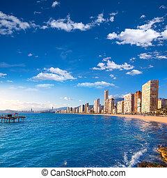 Benidorm Alicante beach in Mediterranean Spain