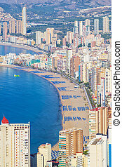 Benidorm city beach in sunny day, Spain.