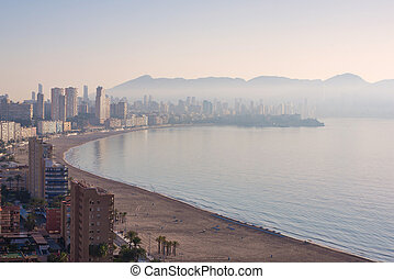 Benidorm covered with fog.