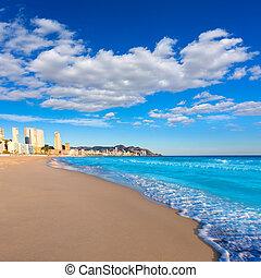 benidorm, de, alicante, playa, poniente, 浜, スペイン