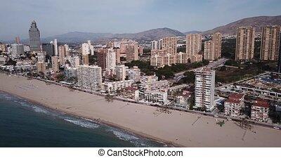 benidorm, espagne, aérien, plage, vue, ville, sable