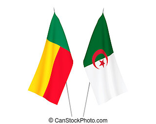 Benin and Algeria flags - National fabric flags of Benin and...