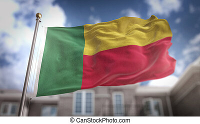 Benin Flag 3D Rendering on Blue Sky Building Background