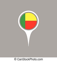 Benin flag location map icon , Vector illustration.