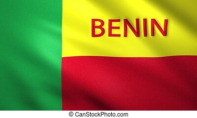 Benin flag moving in the wind