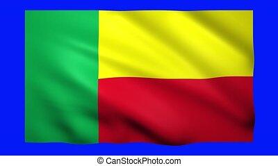 Benin flag on blue screen for chroma key