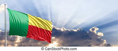 Benin flag on blue sky. 3d illustration