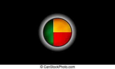Benin flag on button 1080p