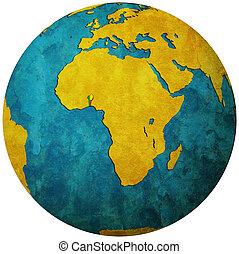 benin flag on globe map