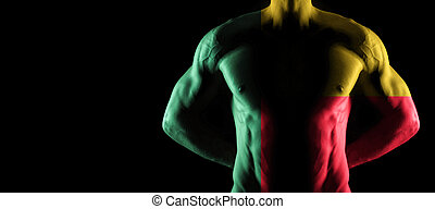 Benin flag on muscled male torso with abs