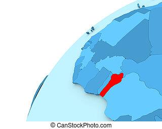 Benin in red on blue globe