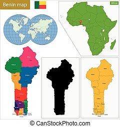 Benin political map with capital portonovo national clipart